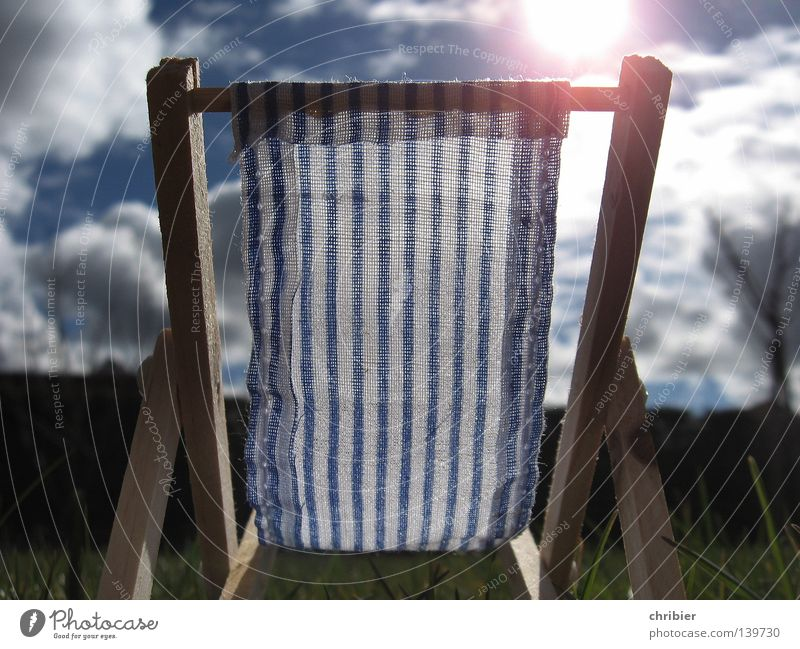 summer sunny spot Contentment Relaxation Vacation & Travel Summer Sun Clouds Warmth Blue White Deckchair Seating Striped Camping chair Folding chair
