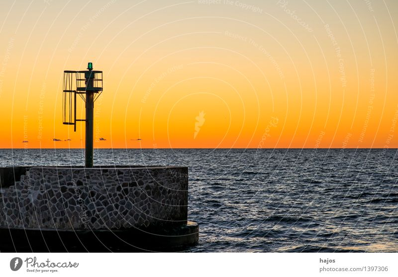 Sunset at the Baltic Sea Leisure and hobbies Vacation & Travel Ocean Environment Nature Sunrise Orange Red Moody Romance Idyll golden Dusk Harbour entrance Mole