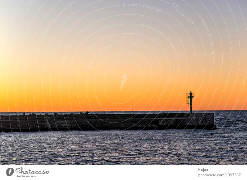 Sunset at the Baltic Sea Leisure and hobbies Vacation & Travel Ocean Sunrise Red Moody Romance Idyll golden Orange Dusk Harbour entrance Mole beacons Mild