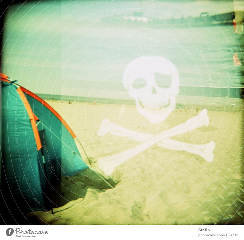 Tribute to leicagirl Tent Beach Ocean Horizon Flag Skeleton Pirate Holga Double exposure Surf White Black Medium format Roll film Caper Board ship Lomography