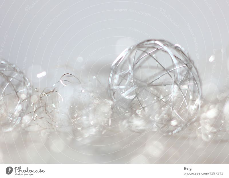 Silver coloured wire ball as decoration in front of white background and Bokeh Feasts & Celebrations Christmas & Advent Wedding Decoration Kitsch Odds and ends