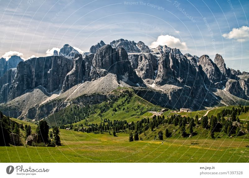geological history Vacation & Travel Tourism Trip Adventure Summer vacation Mountain Hiking Nature Landscape Sky Spring Meadow Rock Alps Sella Dolomites Peak