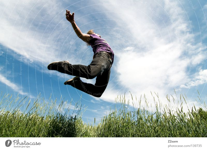 Human being Sky Man Nature Blue Hand Green Sun Summer Clouds Meadow Landscape Hair and hairstyles Jump Style Contentment
