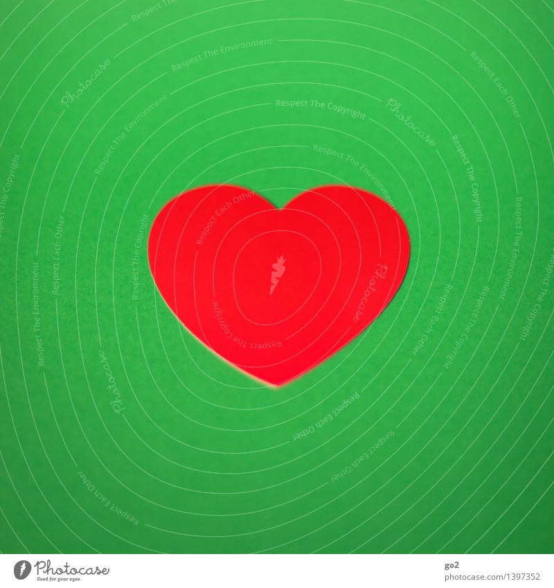 Green Red Love Healthy Health care Design Esthetic Heart Simple Paper Sign Handicraft Valentine's Day