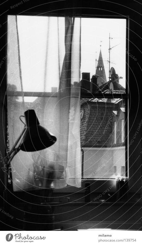 Calm Loneliness House (Residential Structure) Window Room Observe Desk Vantage point Hide Drape Pen Chimney Dazzle Paintbrush Black & white photo Packaged