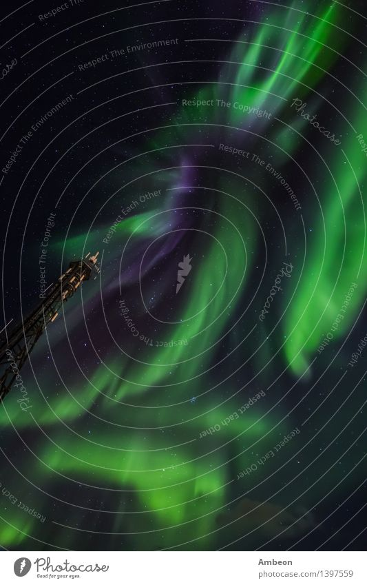 Greenlandic northern lights Vacation & Travel Winter Mountain Nature Landscape Sky Clouds Climate Bright Cold Natural Beautiful Colour The Arctic Astronomy