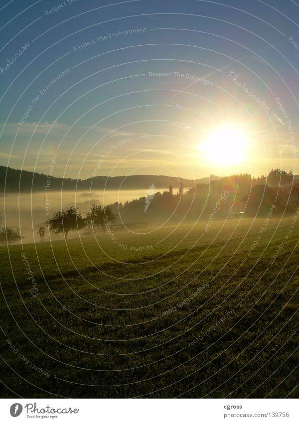 Sky Sun Blue Sunrise Autumn Meadow Landscape Fog