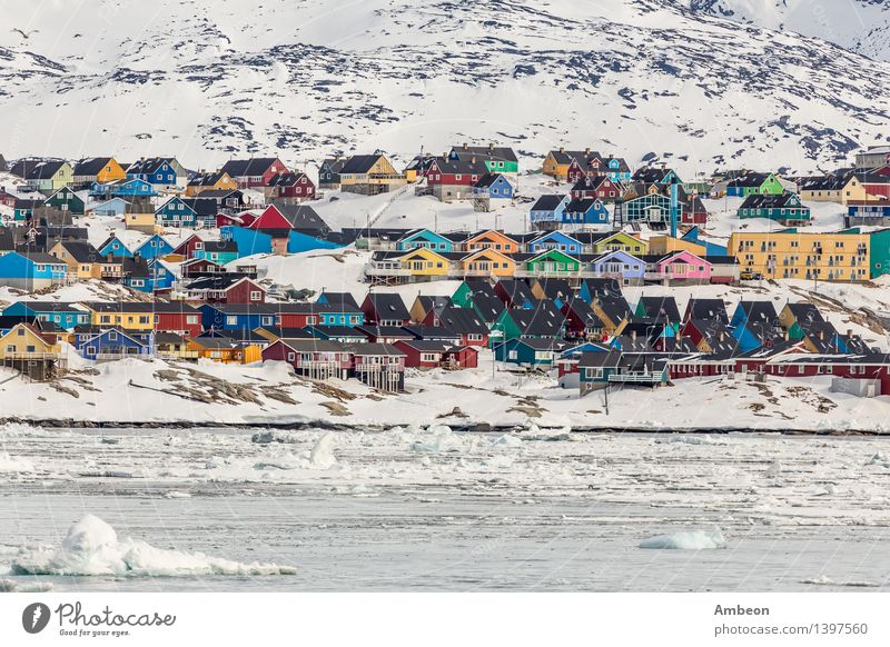 Colorful Ilulissat Sky Nature Vacation & Travel City Colour Ocean Landscape Clouds House (Residential Structure) Winter Cold Mountain Architecture Snow Building Rock
