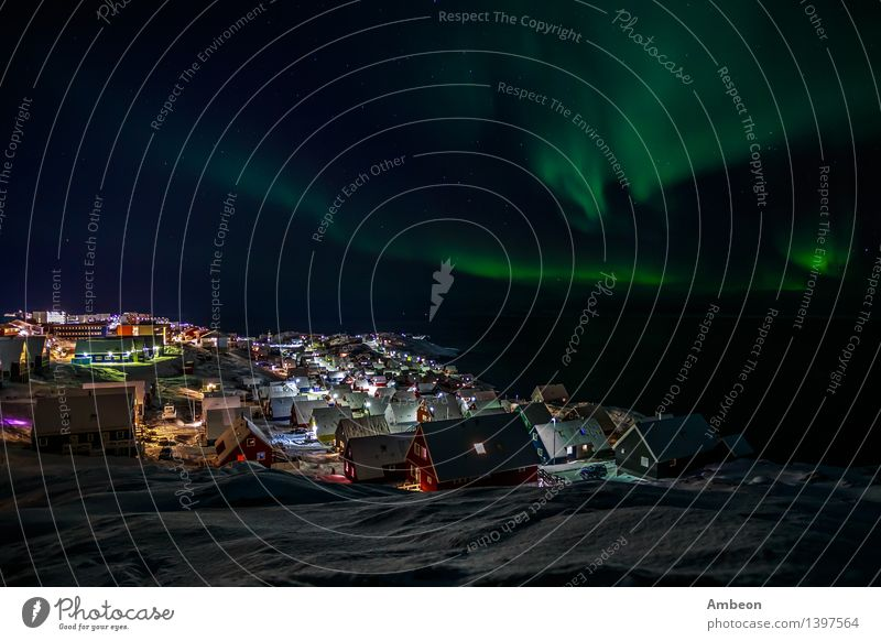 Northern lights over Nuuk Sky Nature Vacation & Travel City Green Beautiful Colour Ocean Landscape House (Residential Structure) Winter Dark Mountain Environment Natural Snow