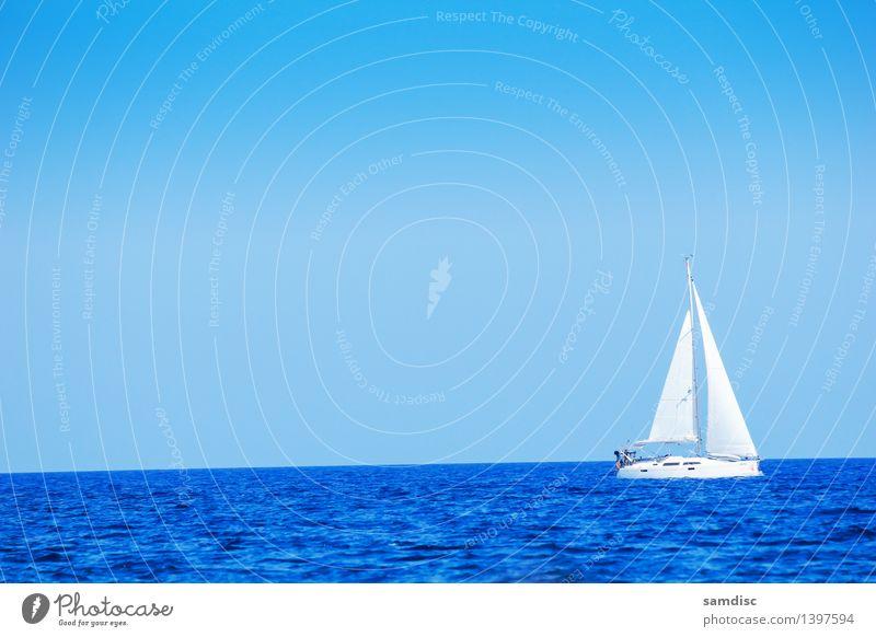 Sailboats at sea Nature Vacation & Travel Blue Beautiful Summer Ocean Landscape Far-off places Beach Coast Sand Rock Watercraft Tourism Vantage point Island