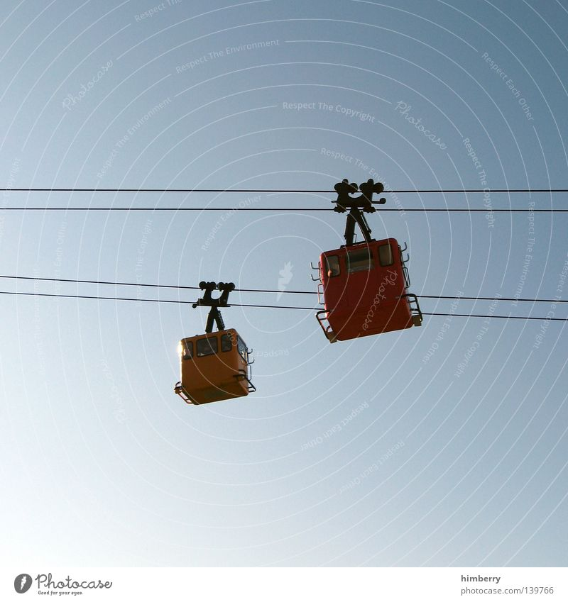 Sky Vacation & Travel Tall Rope Steel cable Upward Downward Cloudless sky Gondola Cable car Downward slide Clear sky Bright background