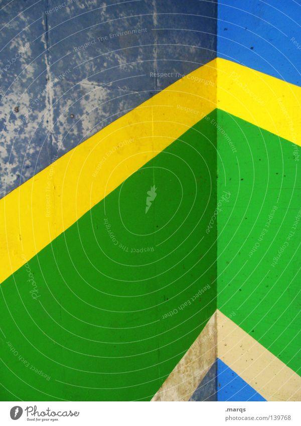 Brazil Wall (building) Painting (action, work) Colour Painted Freedom Salomon islands Line Multicoloured Arrow Yellow Green Blue Corner solomon islands