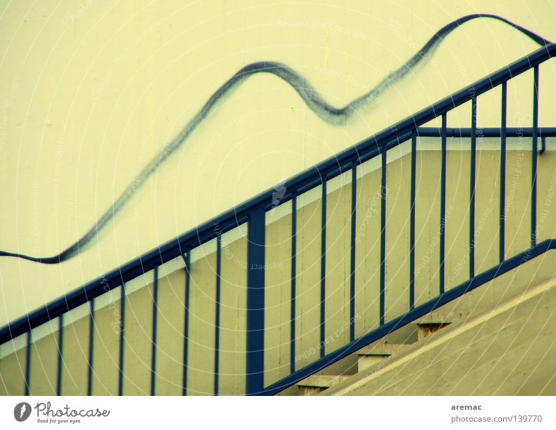 loosening Concrete Detail Graffiti Mural painting Stairs Handrail Blue Line Metal Upward Wavy line