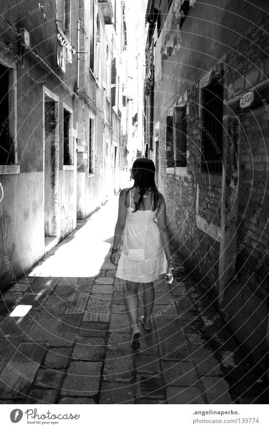 city of angels... Woman Small Beautiful Dress White Summer Physics Hot Going To go for a walk Dark Long House (Residential Structure) Alley Window Think