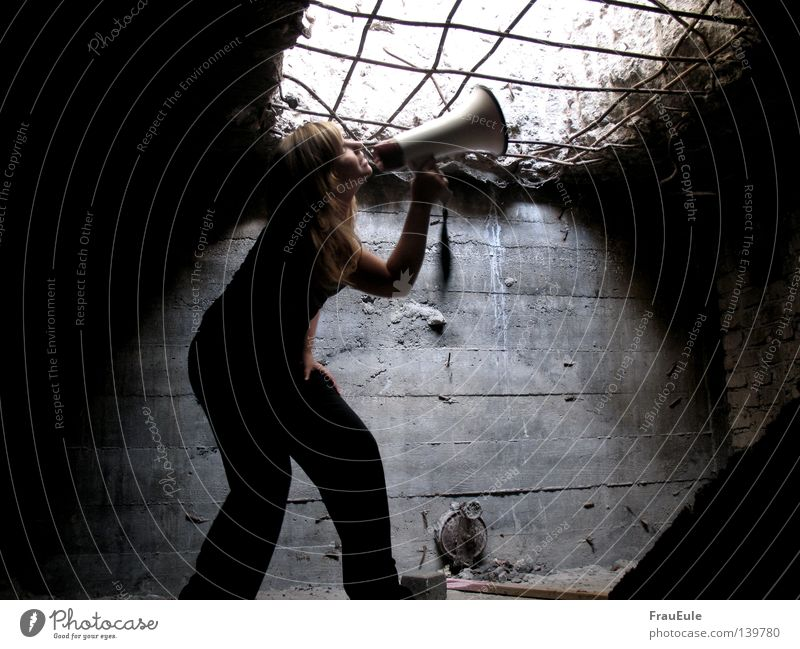 Woman To talk Wall (building) Fear Hope Scream Derelict Listening Captured Panic Loud Cry for help Way out Grating Megaphone Opening