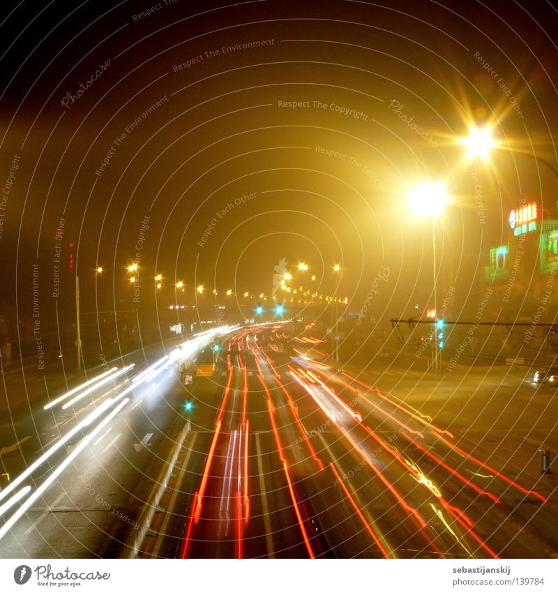 Beijing by night China Night Lamp Speed Smog Long exposure Traffic infrastructure Asia Street Car Bridge