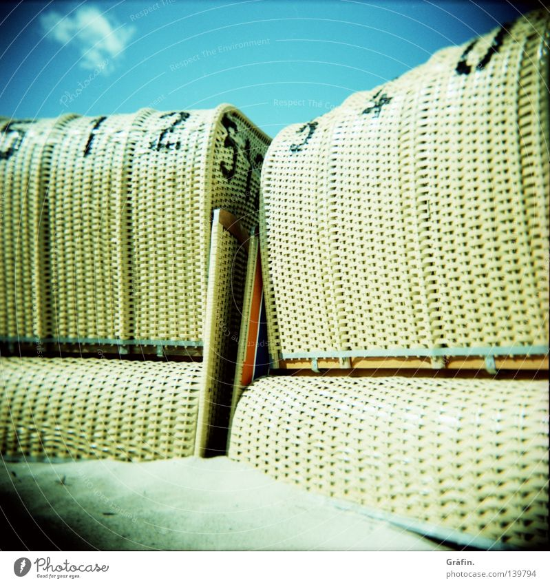 summer residence Holga Medium format Roll film Beach Waves Ocean Beach chair Summer Grain of sand Leisure and hobbies Tourist Summer vacation Vacation & Travel