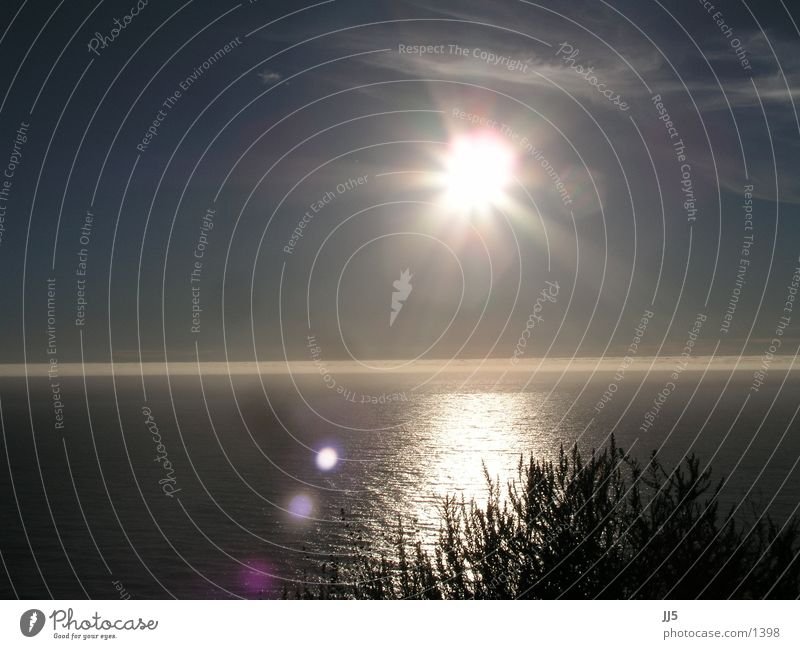 west coast California Sunset Ocean Back-light Dusk Sunlight Sunbeam Dazzle Luminosity Lens flare Pacific Ocean Horizon Evening sun Surface of water