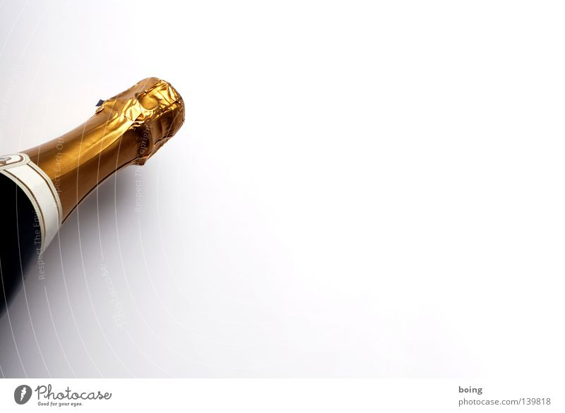 ice-cold and tingling Sparkling wine Champagne Alcoholic drinks bottle fermentation Neck of a bottle Closed Object photography Isolated Image Bright background