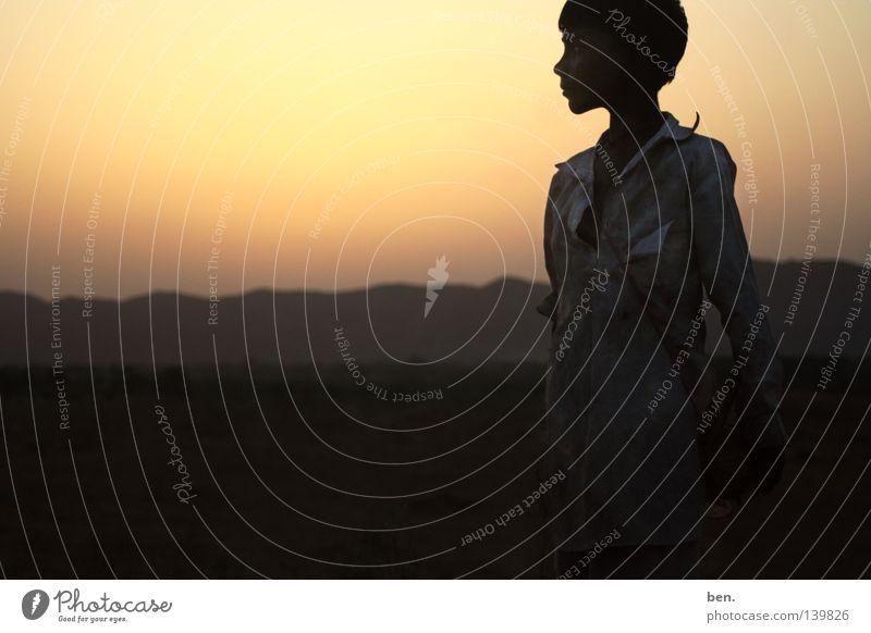 The Sun of Rajasthan India Child Sunset Back-light Evening Desert Puskar Boy (child)