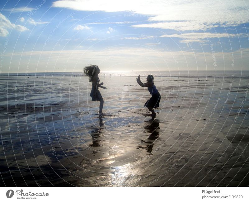 Jumping over his shadow Joy Hair and hairstyles Life Calm Vacation & Travel Far-off places Freedom Summer Beach Ocean Feminine Friendship Infancy 2 Human being