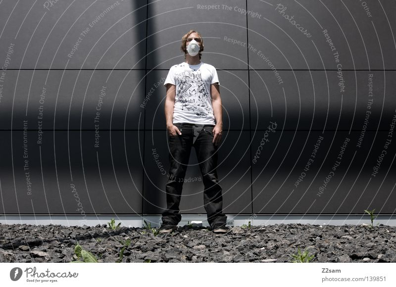Human being Man Hand White City Style Gray Stone Footwear Line Metal Architecture Masculine Cool (slang) Jeans Stand