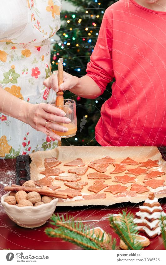 Mom with daughter making the Christmas cookies Table Kitchen Human being Girl Woman Adults Hand 2 8 - 13 years Child Infancy 30 - 45 years Make Cut Cutter Knife