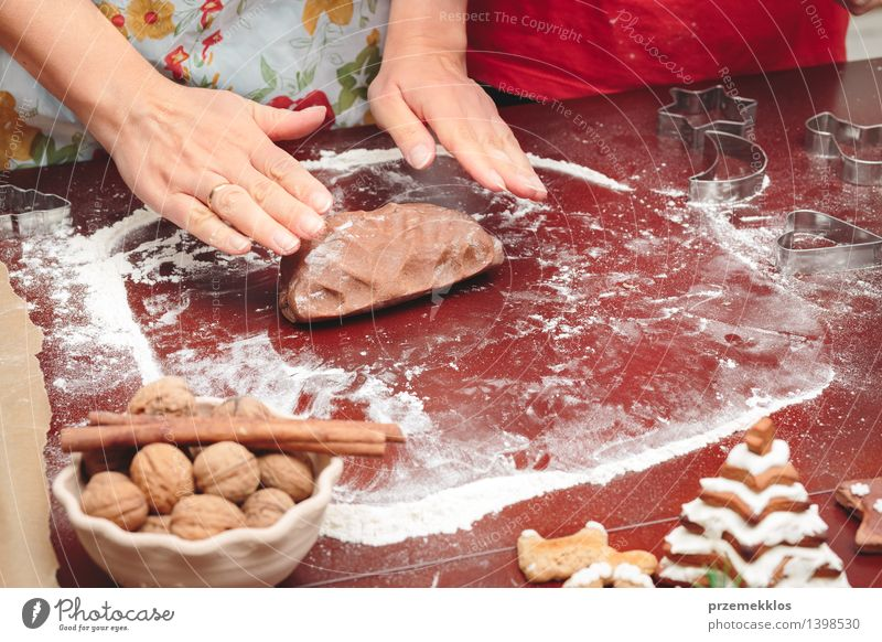 Woman making dough for a Christmas cookies Human being Child Christmas & Advent Hand Adults Feasts & Celebrations Infancy Table Cooking & Baking Kitchen