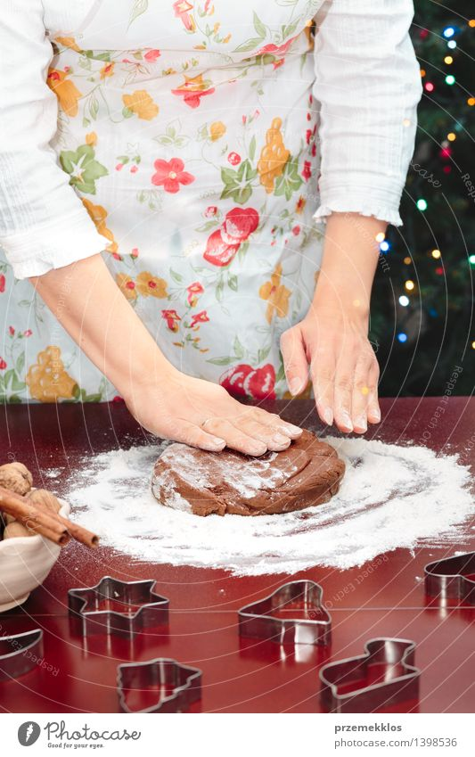 Woman making dough for a Christmas cookies Human being Christmas & Advent Hand Adults Feasts & Celebrations Table Cooking & Baking Star (Symbol) Kitchen Make