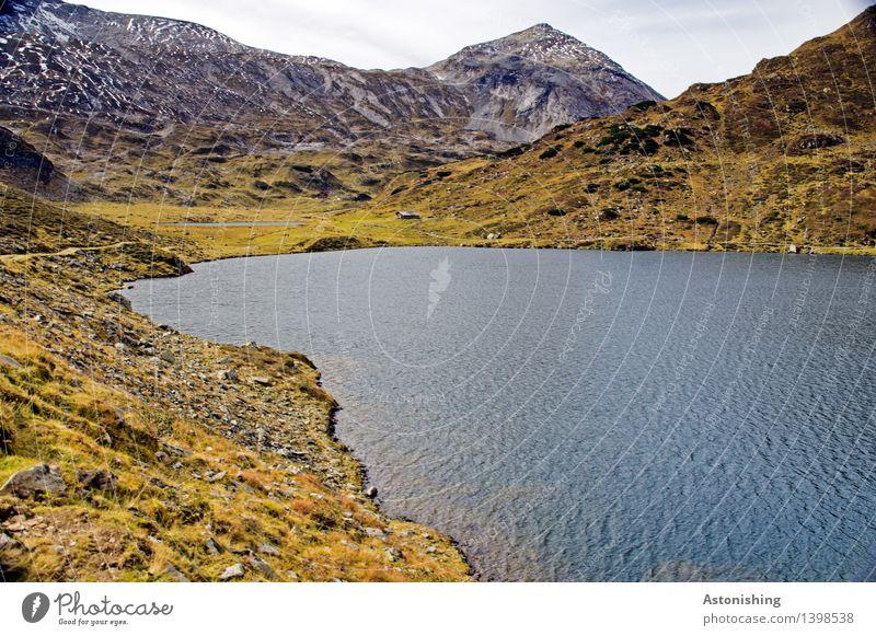 Lake & Summit Environment Nature Landscape Plant Earth Water Sky Clouds Horizon Autumn Weather Grass Bushes Hill Rock Alps Mountain Peak Snowcapped peak Waves