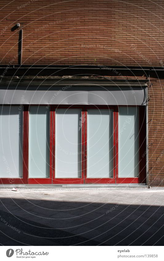 Facade - almost a pity House (Residential Structure) Wall (building) Building Window Brick Steel Electricity Empty Vacancy Closed Red Gray Concrete Harmful