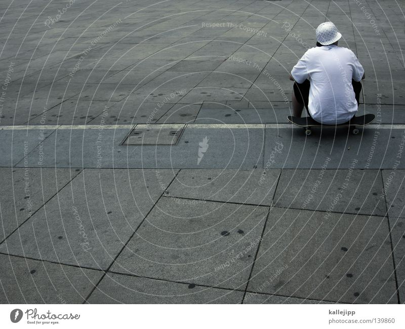 Human being Man Youth (Young adults) Old White City Loneliness Adults Gray Style Back Leisure and hobbies Sit Large Concrete Places