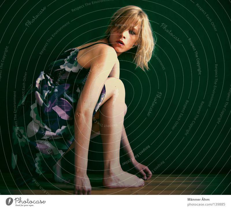 Woman Beautiful Flower Wall (building) Wood Hair and hairstyles Legs Feet Blonde Arm Sit Beginning Clothing Dress Shoulder Knee