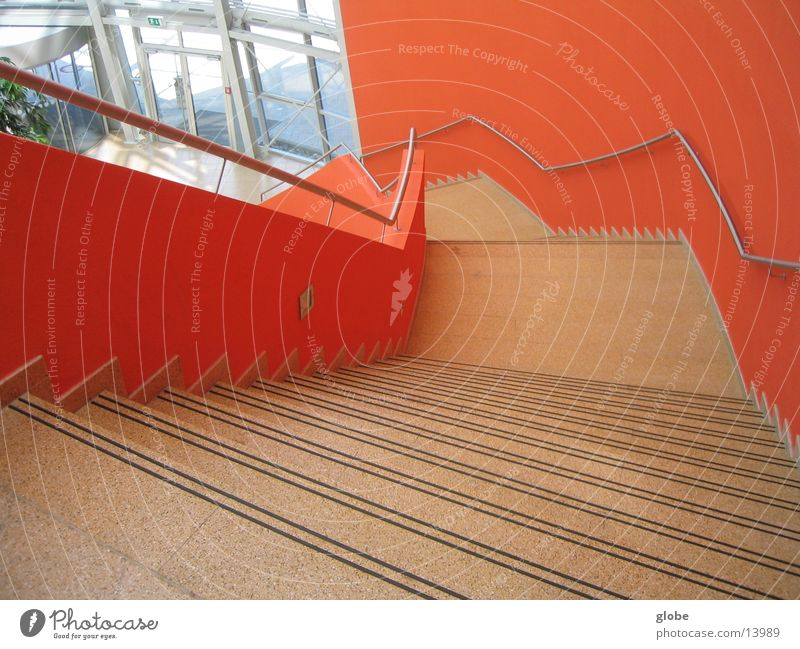 Red Orange Architecture Stairs Under Handrail Downward