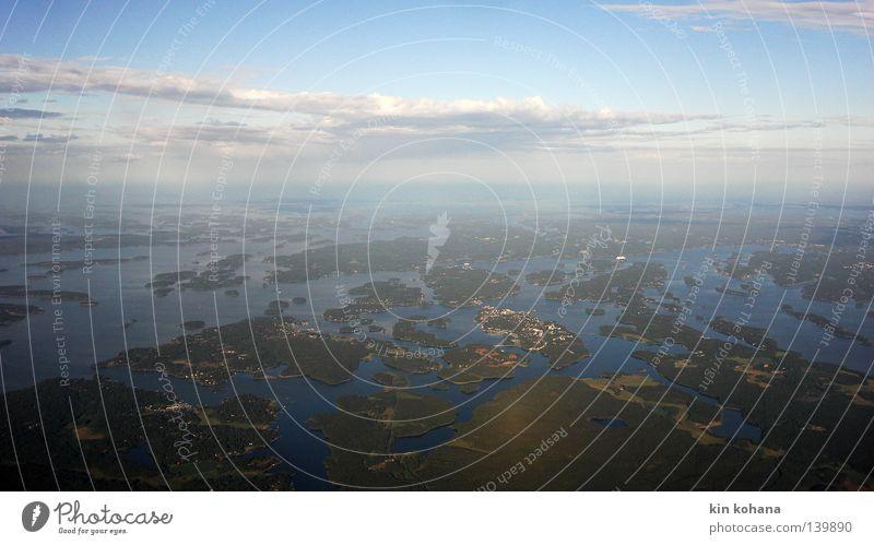 Sky Blue Water Ocean Clouds Landscape Sand Air Horizon Line Earth Island Broken River Countries Infinity