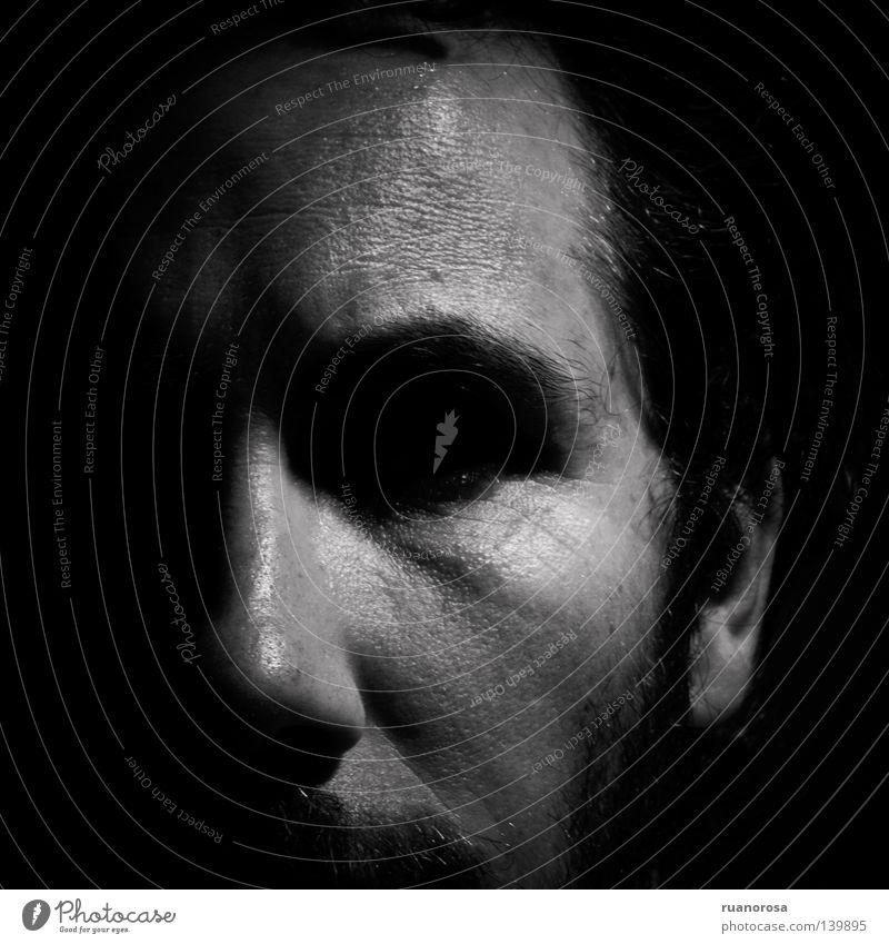 Roan Face Shadow Moustache Black & white photo negro oscuro serio cara rostro Earnest Dark Obscure ernst schwarz dunkel Gesicht Doubt Pain ansiedad tristeza