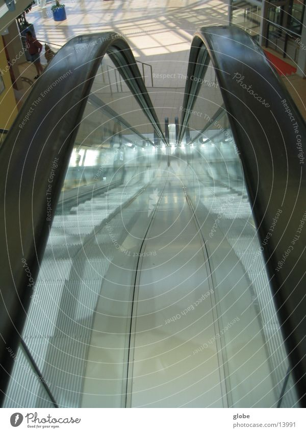 Architecture Glass Stairs Handrail Downward Escalator