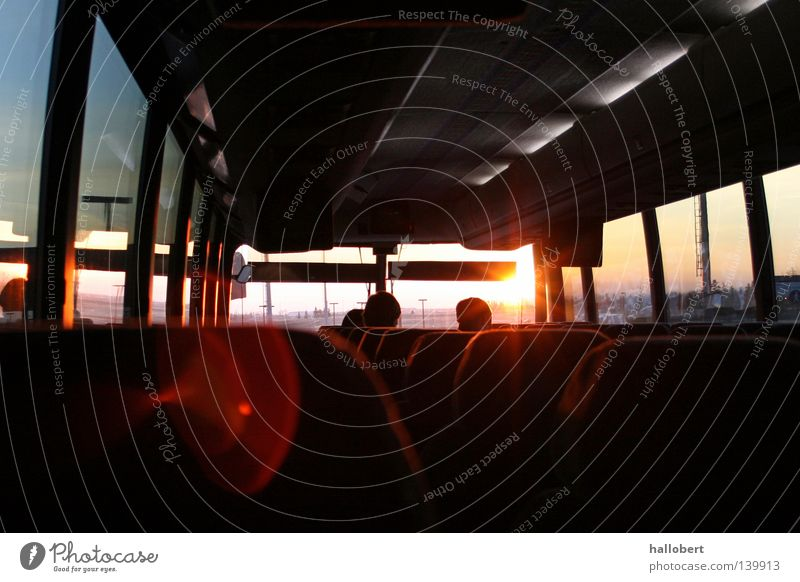 Sunrise in the bus Morning Bus Transport car glass bus window Bus travel Interior shot