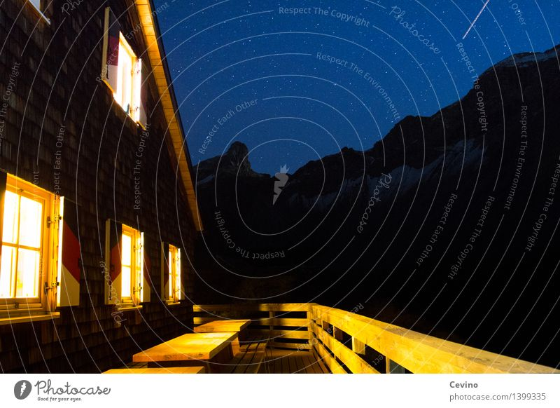 hut magic Mountain Hiking Landscape Cloudless sky Night sky Stars Alps Austria Europe Deserted Hut Facade Terrace Window Roof Trust Safety Protection
