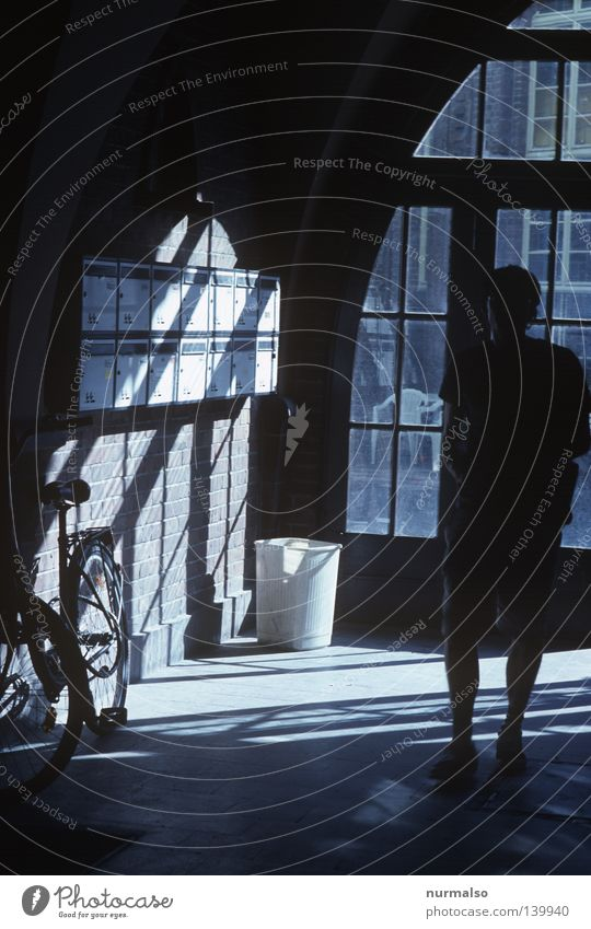 Human being Dark Bicycle Mail Hallway Expectation Mailbox Neighbor Entrance Resident Shaft of light