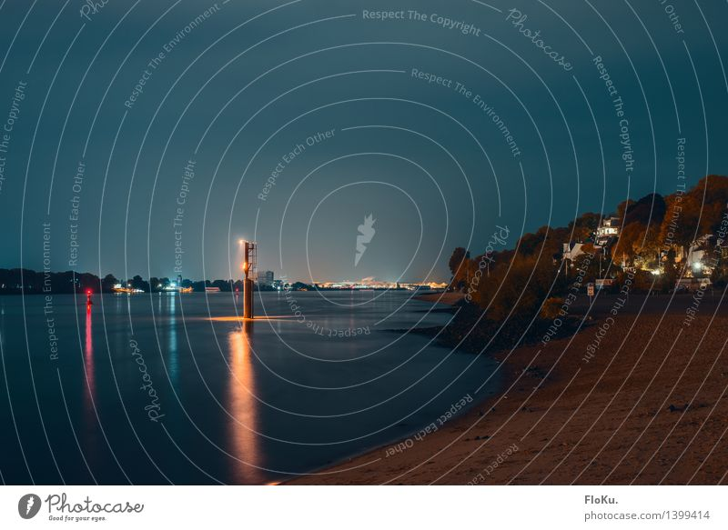 Elbe blue in blue Landscape Elements Sand Water Night sky River bank Beach Hamburg Port City Deserted Harbour Dark Blue Calm Elbstrand Buoy Lighthouse