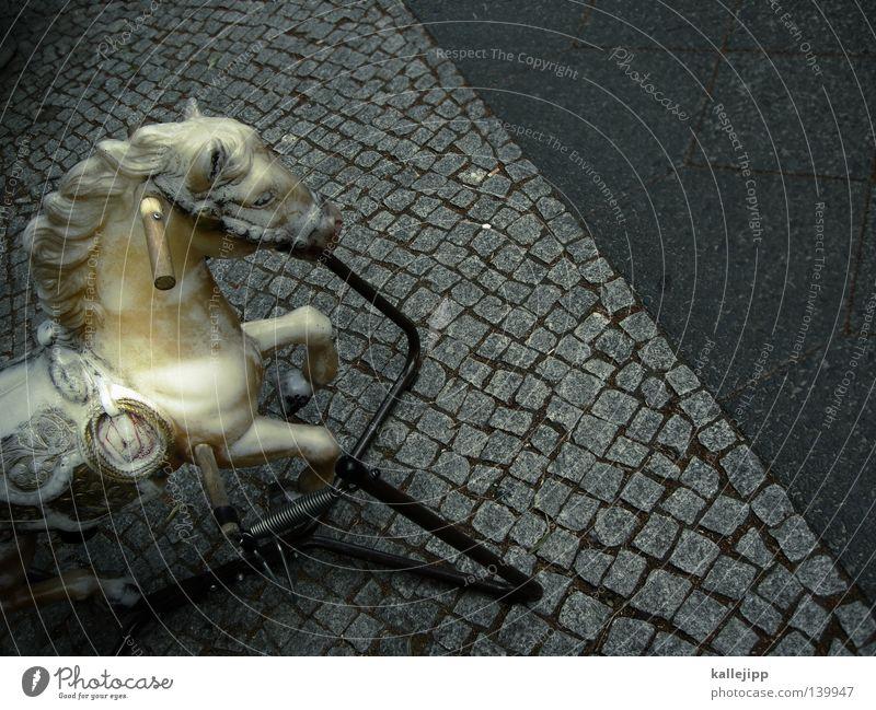 white horses Horse Gallopp race Horse's gait Animal Toys Rocking horse Infancy Street Cobblestones Stone Gray Sidewalk Door handle Head Horse blanket