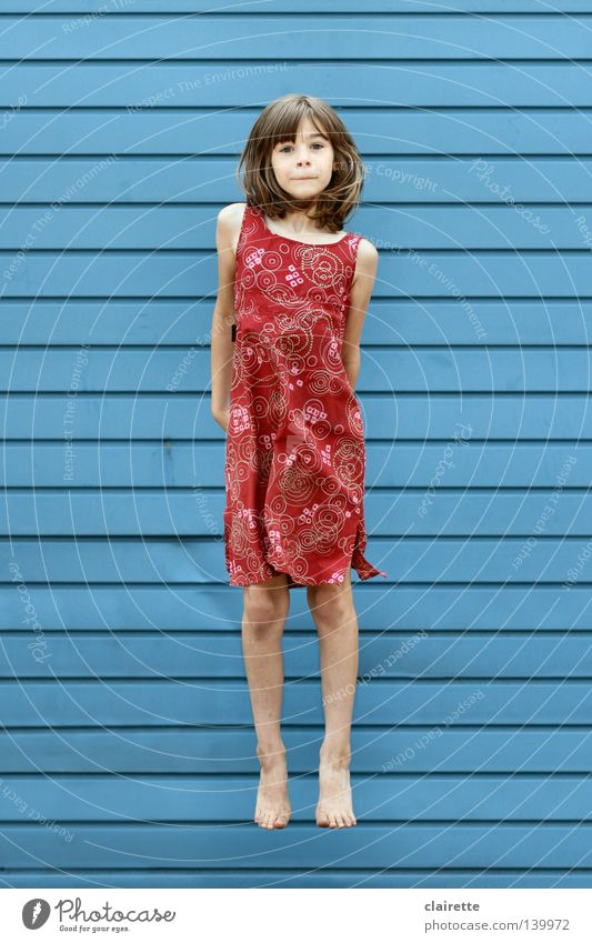 only flying is better Colour photo Multicoloured Exterior shot Full-length Looking into the camera Summer Child Human being Girl Infancy Youth (Young adults) 1