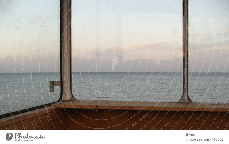 Wanderlust behind glass Beach Ocean Water Sky Clouds Horizon Coast Baltic Sea Wood Glass Longing Homesickness Loneliness Door handle Aspire Crossbeam Fastening