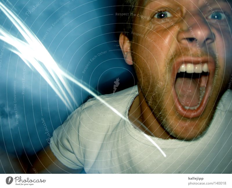Human being Man Face Eyes To talk Emotions Movement Lighting Fear Mouth Skin Nose Threat Teeth Anger Force