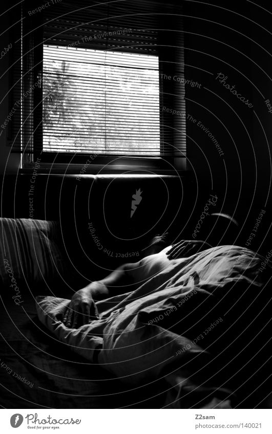 SUNDAY 9.00 a.m. Bed Sleep Rest Light Window Room Glittering Black White Simple Man Masculine Silhouette Vantage point Sunday Morning Arise Dream Human being