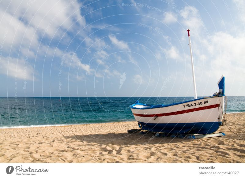 The boat Watercraft Spain Driving Fisherman Fishing (Angle) Fishery Angler Beach Sun Clouds Waves Surf Red Blue White Shadow Horizon Ocean Services Harbour