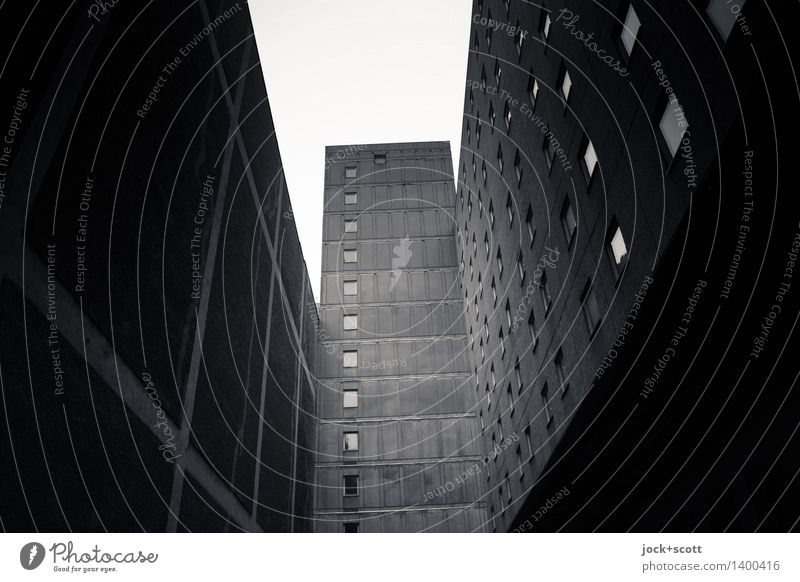 Bonjour tristesse in the backyard Downtown Berlin High-rise Prefab construction Office building Facade Backyard Fire wall Authentic conceit Tall Retro Gloomy