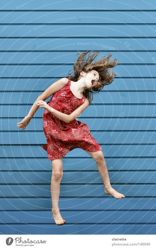 Human being Child Youth (Young adults) Blue Red Girl Summer Joy Jump Healthy Infancy Flying Wild Free Crazy Dress