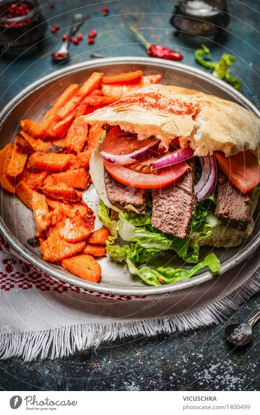 Sandwich with fried meat, vegetables and sweet potatoes Food Meat Vegetable Lettuce Salad Bread Nutrition Lunch Banquet Fast food Plate Table Kitchen Design